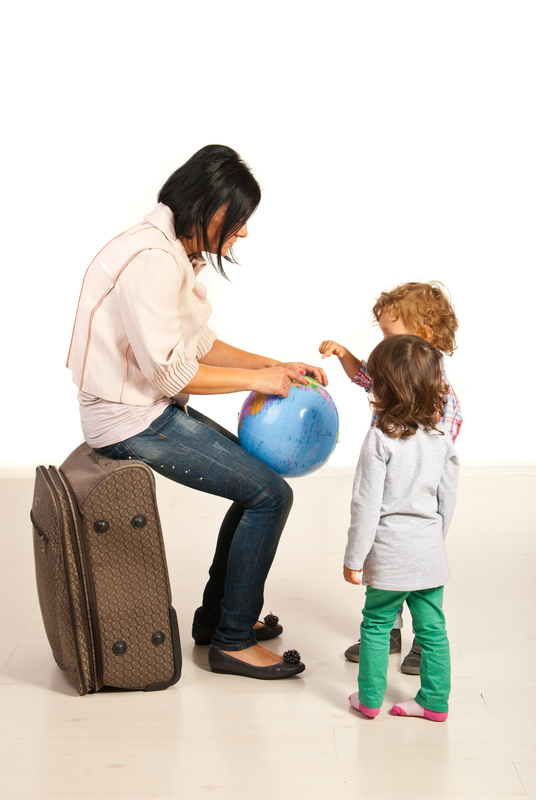 http://www.dreamstime.com/stock-images-mom-showing-her-kids-where-to-go-were-vacation-isolatedon-white-background-image34235814