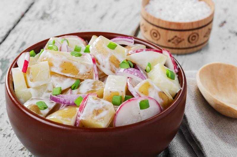 http://www.dreamstime.com/stock-image-potato-salad-radishes-onions-image40413351