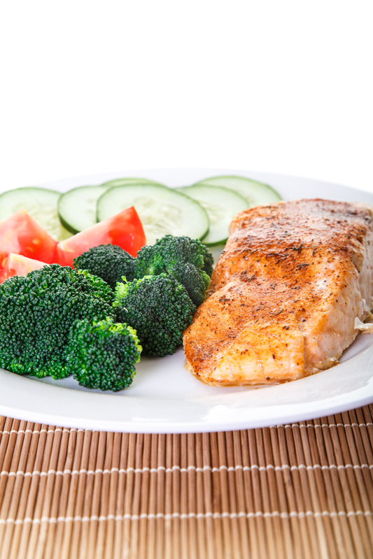 http://www.dreamstime.com/stock-photos-baked-salmon-broccoli-low-angle-dinner-tomatoes-cucumber-image31384563