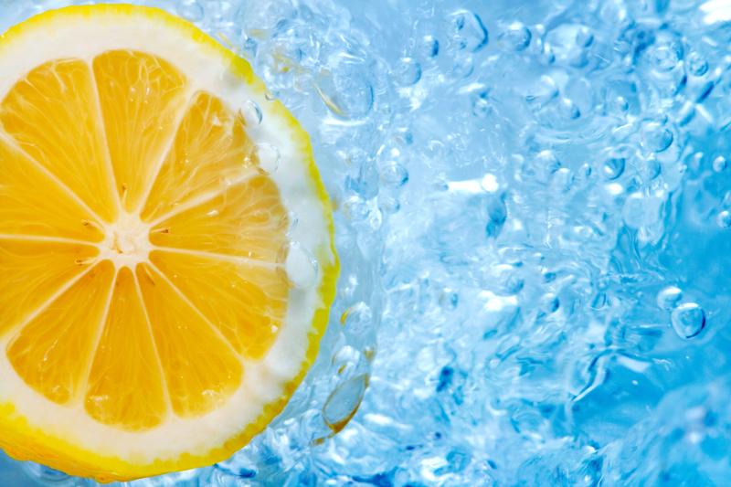 http://www.dreamstime.com/royalty-free-stock-image-lemon-slice-blue-water-image17927256