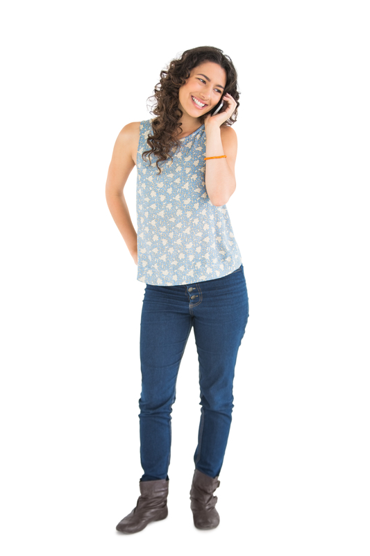 http://www.dreamstime.com/stock-photos-cheerful-attractive-brunette-phone-posing-white-background-image33030283