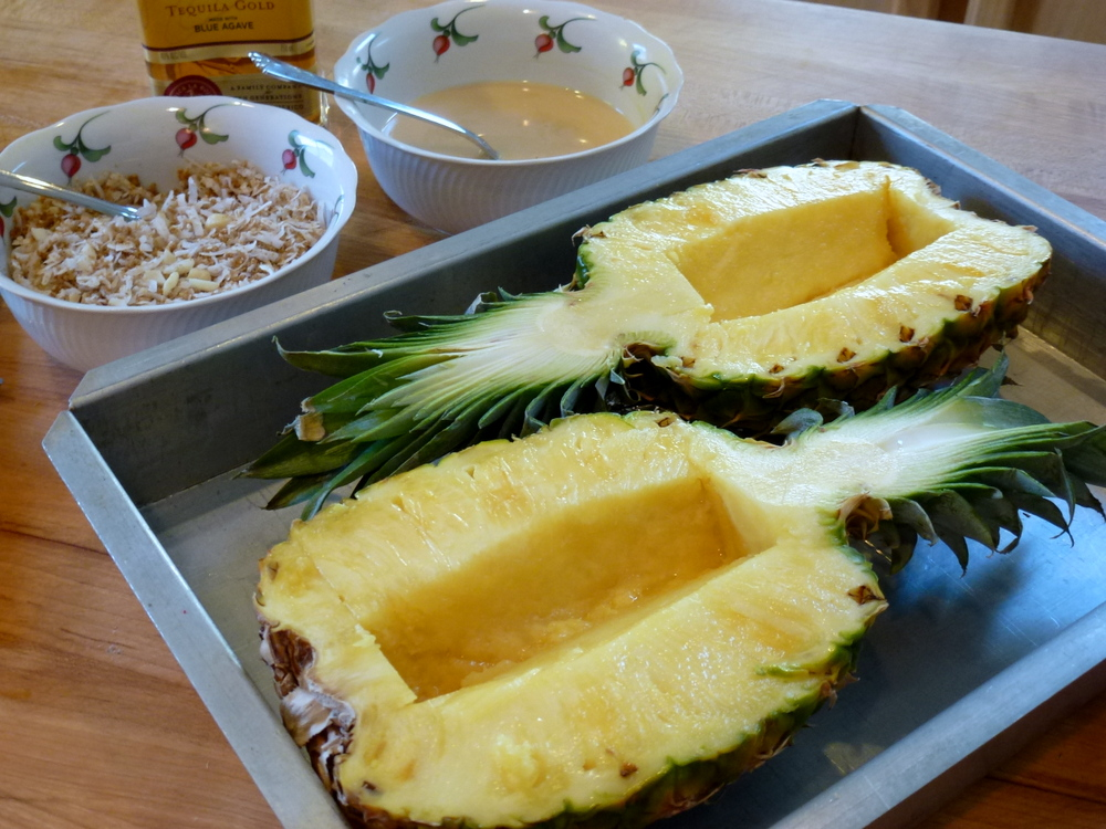 Gratineed Pineapple ready to fill